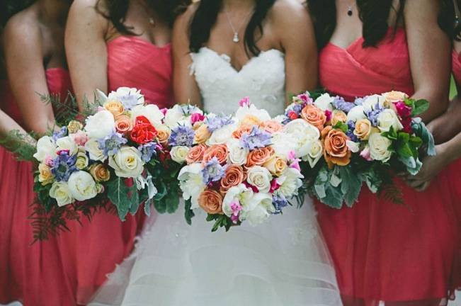 pink, peach, blue wedding bouquets