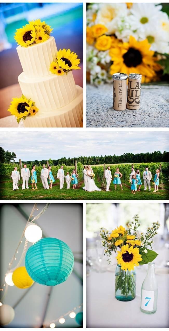 sunflower wedding cake, blue and yellow