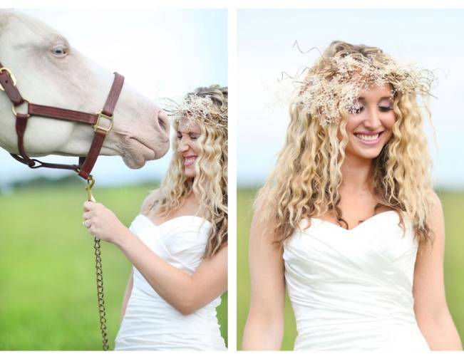 rustic bride with twig crown