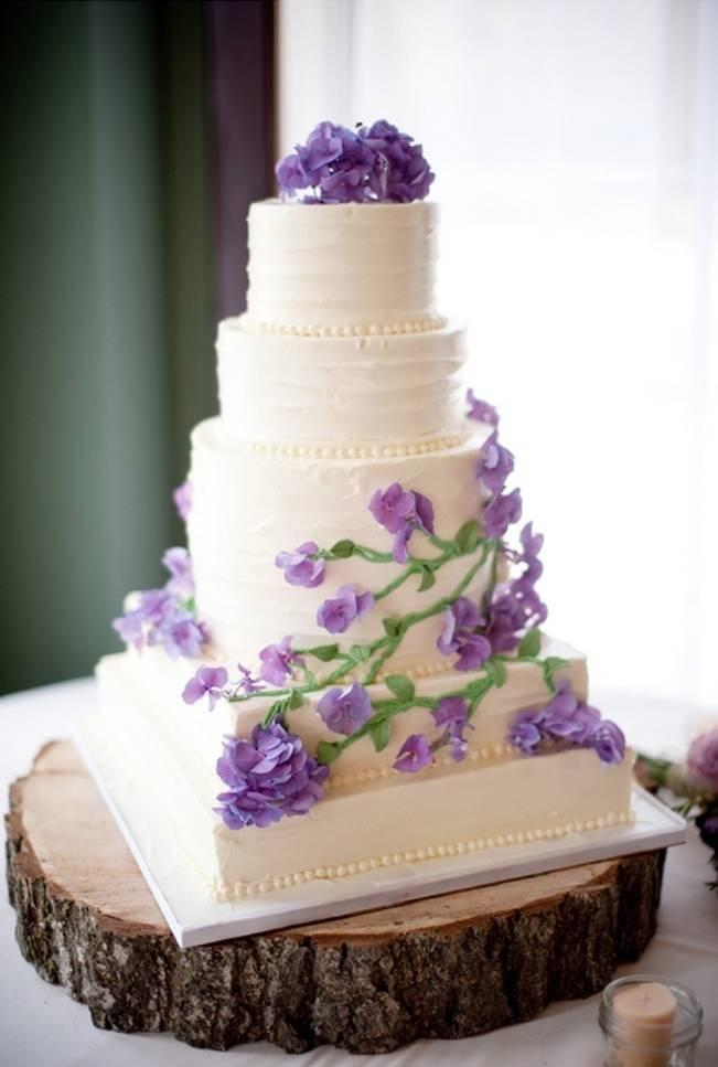 purple sweetpea wedding cake