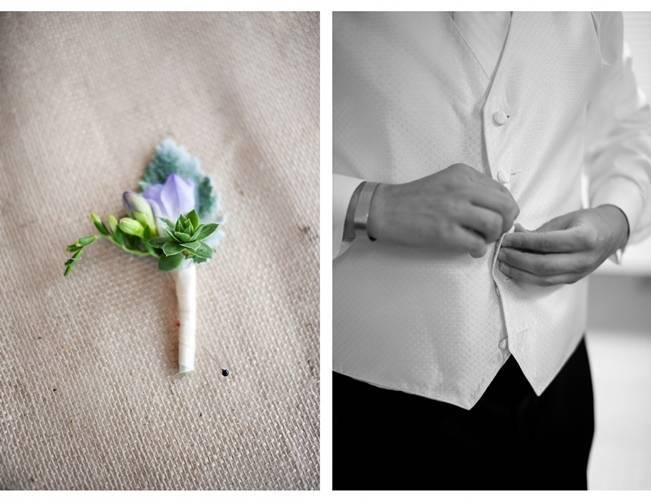 rustic green and purple boutonniere