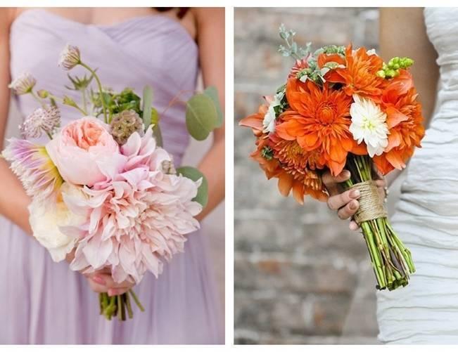 large dahlia wedding bouquet, pink orange