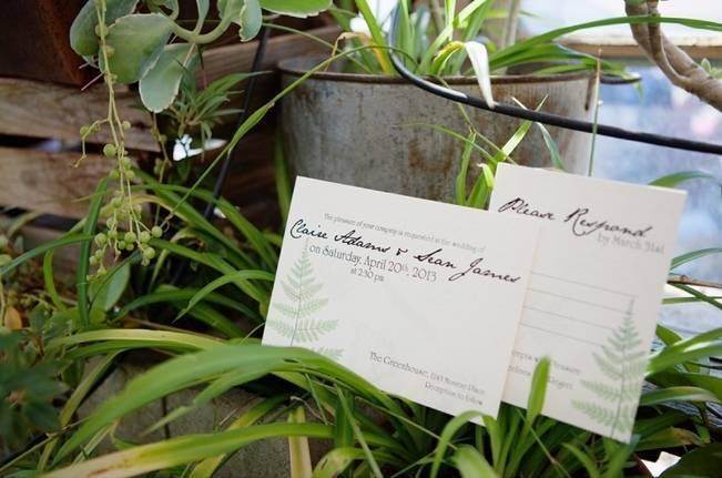fern wedding invitations save the dates