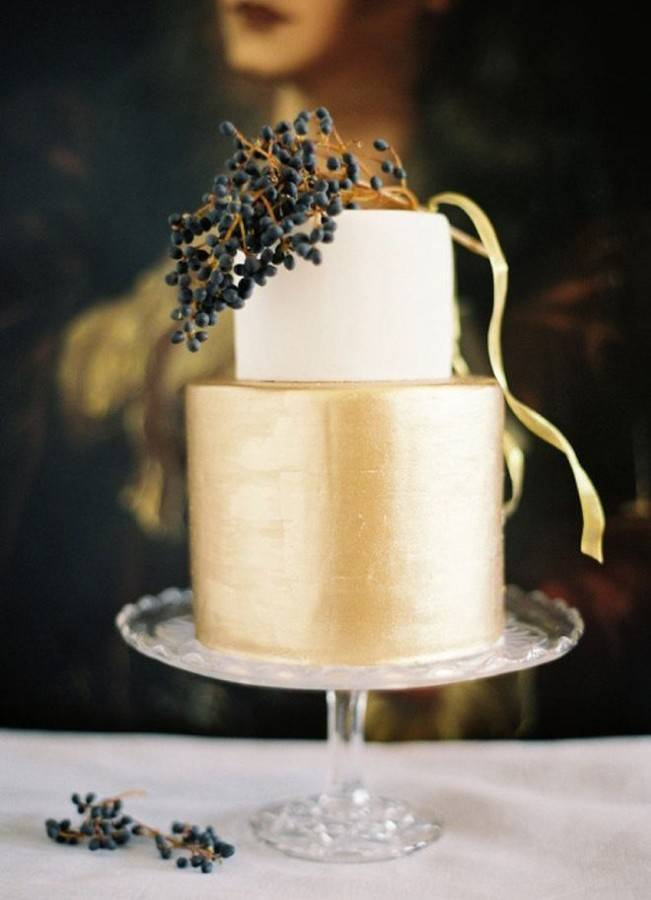 fall gold wedding cake