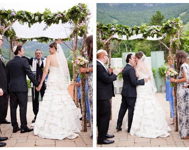 rustic mountain wedding arch