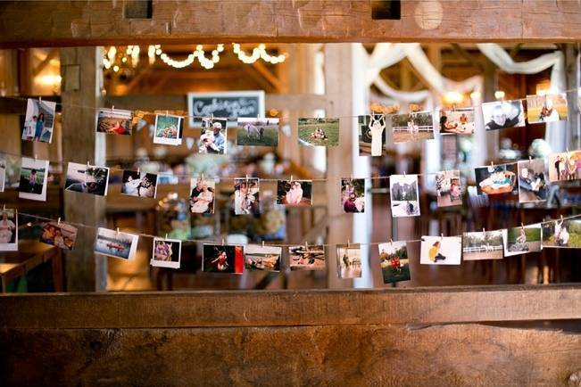 rustic barn wedding photo wall