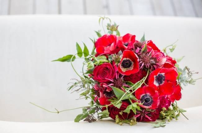 ruby red poppy bouquet