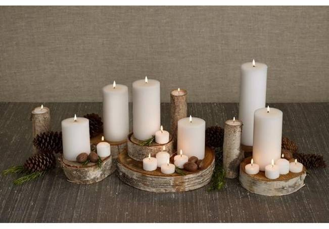 simple logs and candles centerpiece
