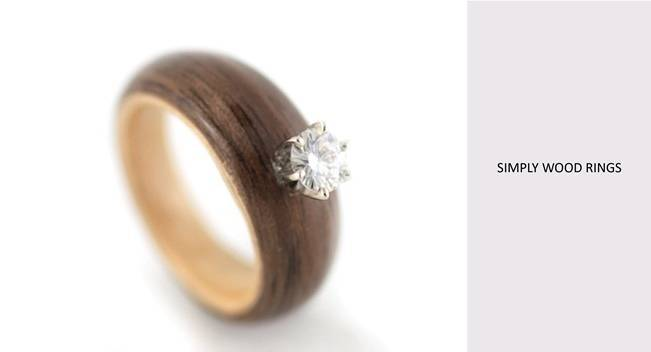 wood engagement ring with diamond