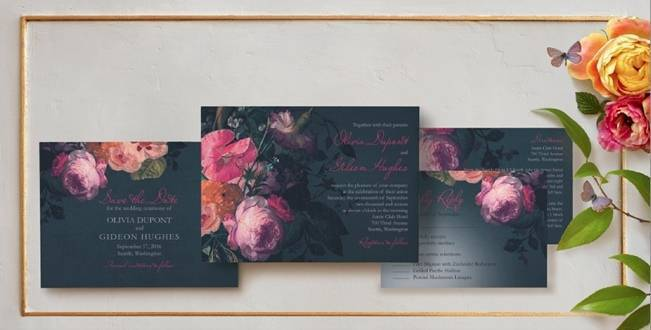 Claire Pettibone Wedding Stationery - Midnight Bouquet