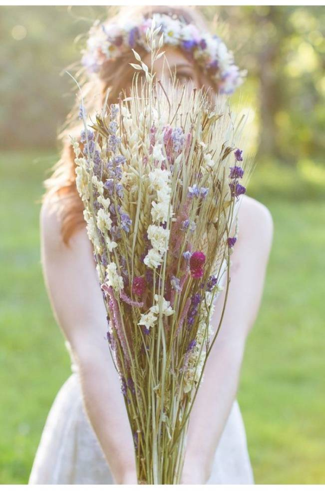 Rustic Dried Flower Wedding Bouquet Inspiration 4