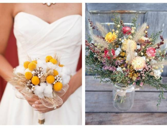 Rustic Dried Flower Wedding Bouquet Inspiration 6