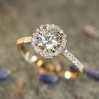 LaMoreDesign.etsy.com  14k Rose Gold Halo Diamond ...