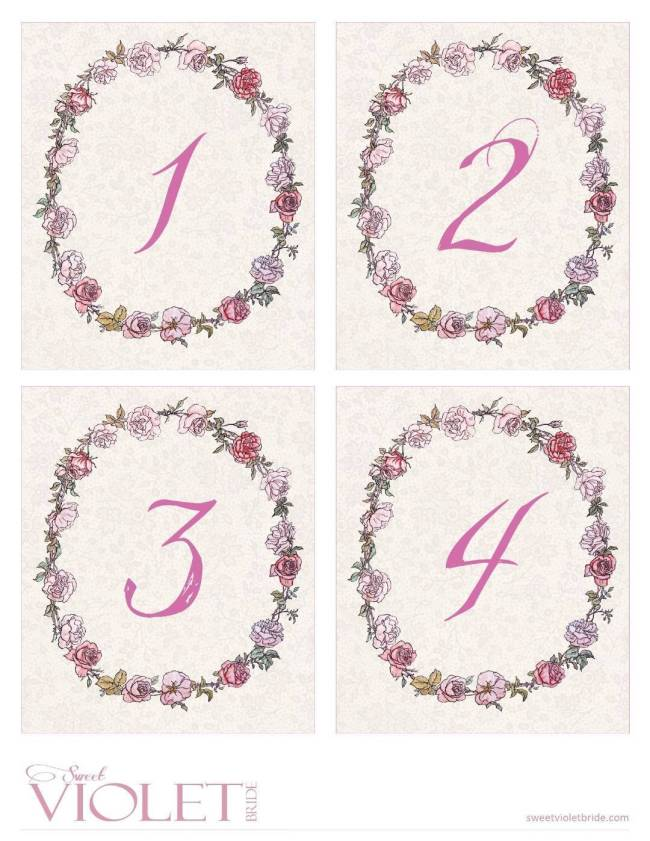 pink whimsical rose wreath + lace table numbers - free diy printable - 1-4