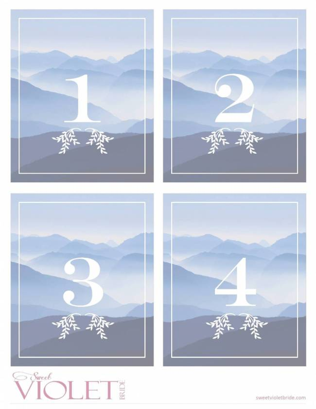 Free Printables - Blue Mountain Table Numbers - 1-4