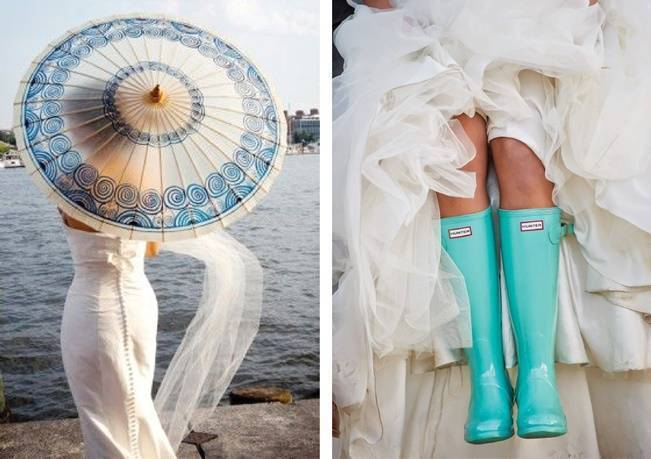 Blue rain boots or umbrellas for something blue