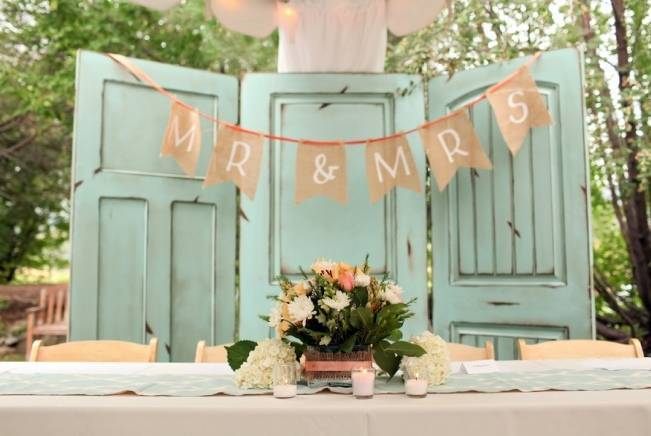 Coral + Sweet Mint Summertime Ranch Wedding Reception 10