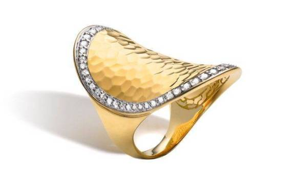 John Hardy Palu Gold Saddle Ring with Diamonds