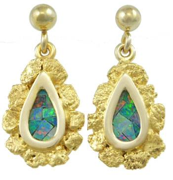 Mosaic Opal and gold Nugget Earrings