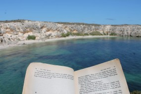 Reading on a beautiful cliffside overlooking a bay