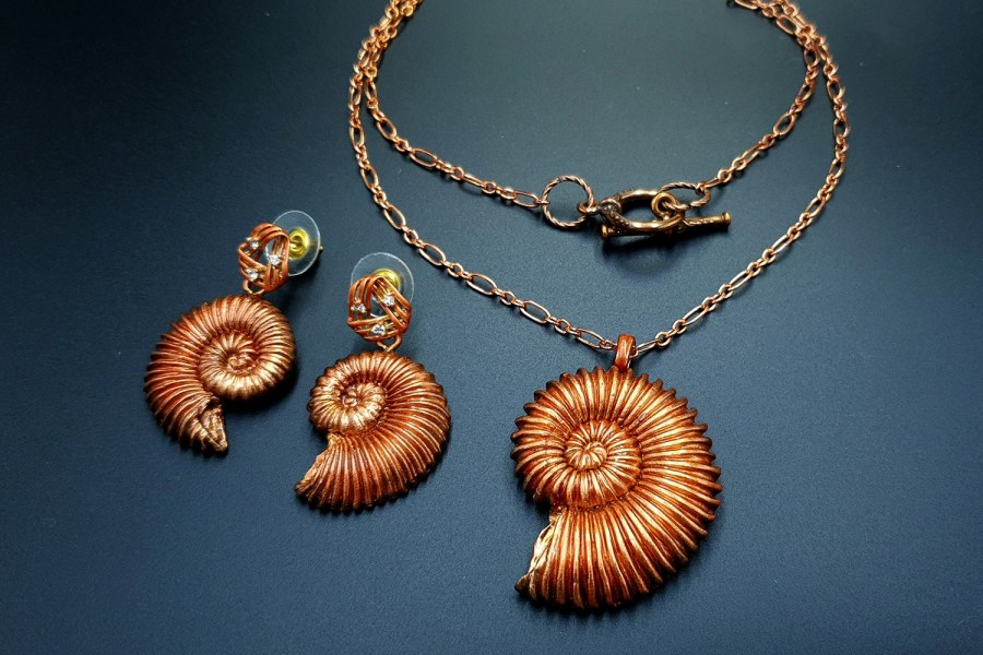 Ammonites in Copper Jewelry Set 05