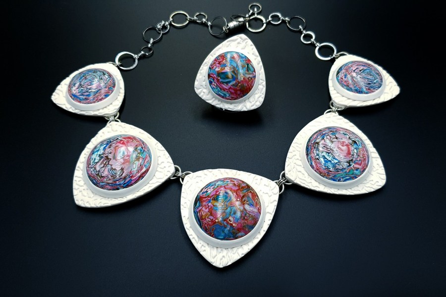 Earth in the porthole Jewelry set 06