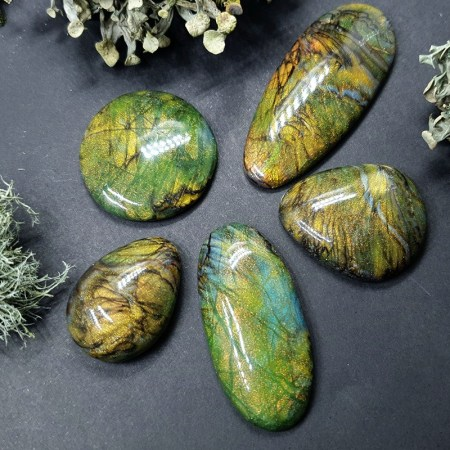 Faux Labradorite Stones from Polymer Clay 5 cabochons