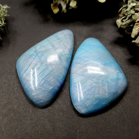 2 cabochons Faux Moonstone from Polymer Clay (Set #4)