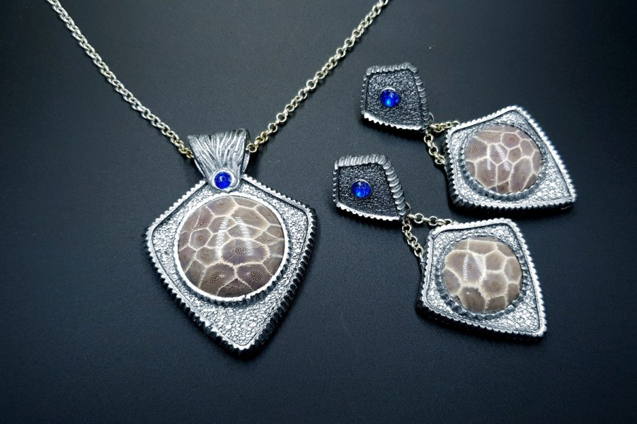 Petoskey Stone Jewelry set 01