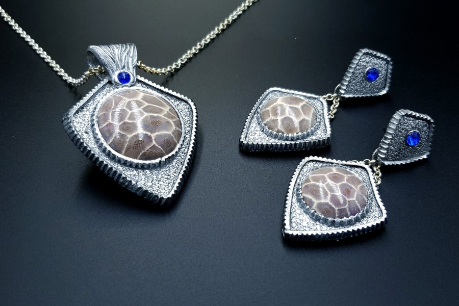 Petoskey Stone Jewelry set 03