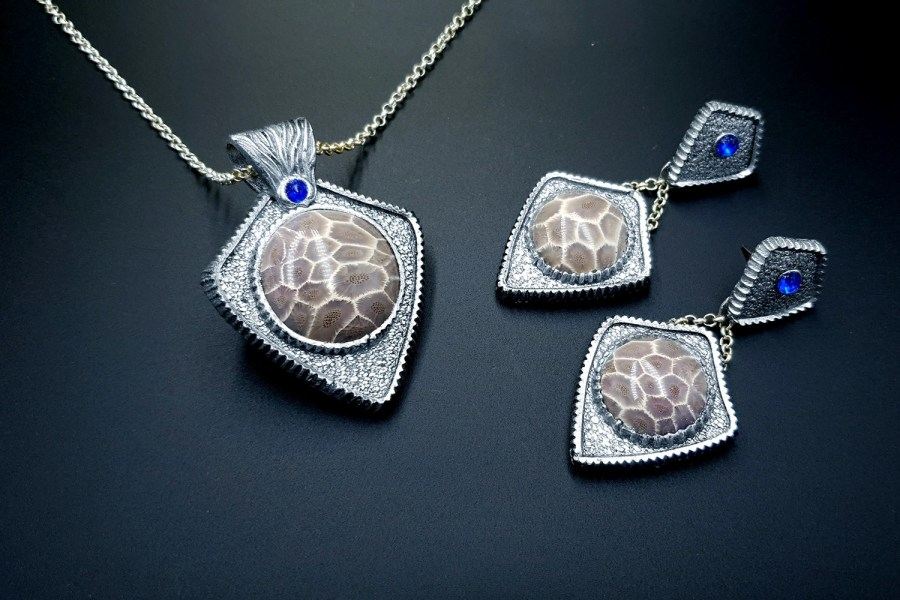 Petoskey Stone Jewelry set 05