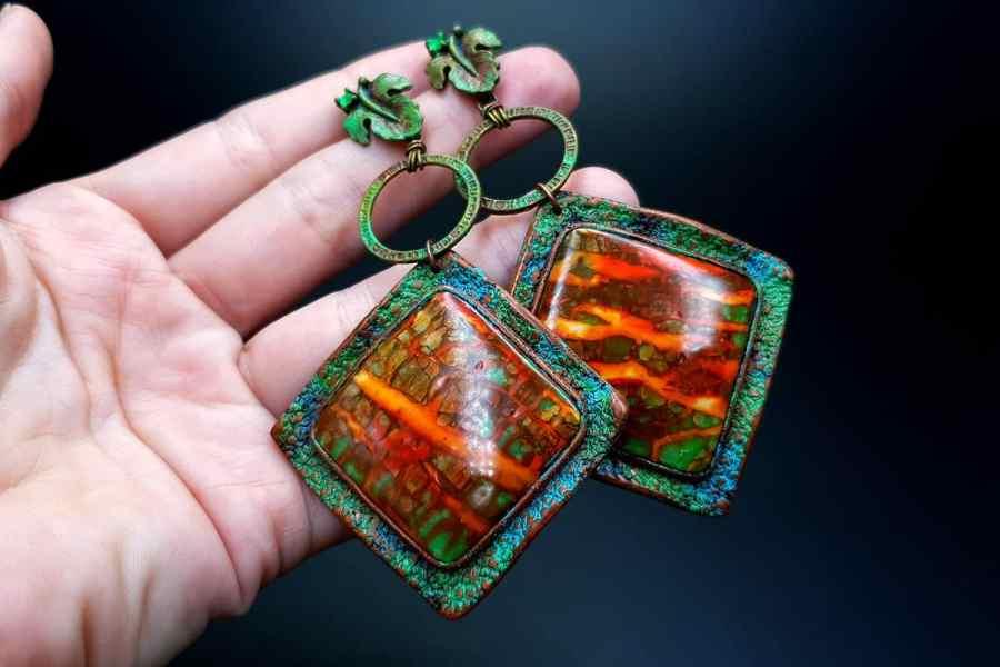 Rusted Metal Earrings 03