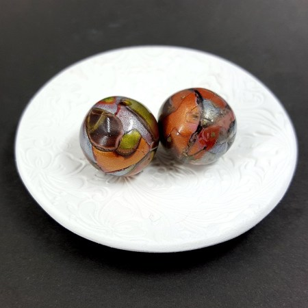 2 pcs Beads from Polymer Clay by Mokume Gane Technique