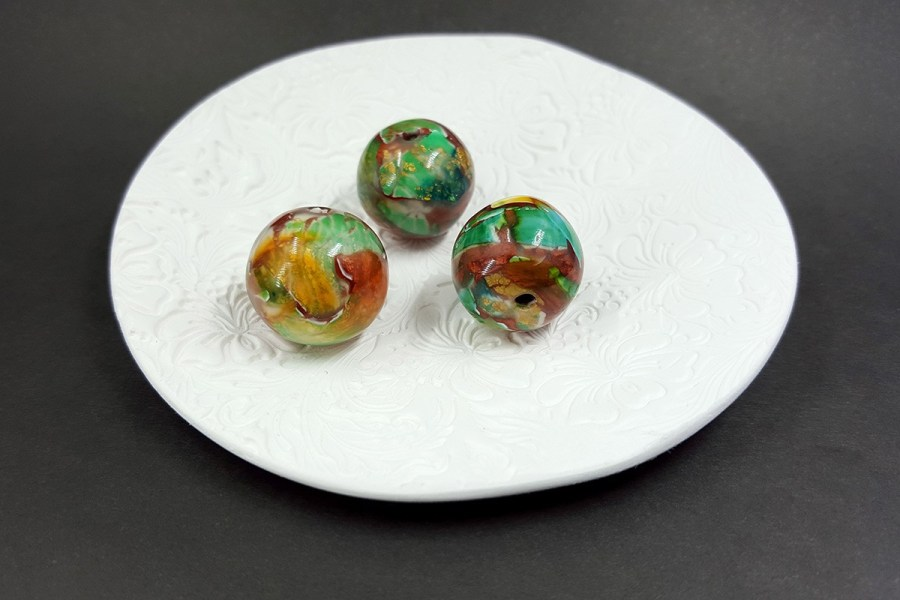 3 pcs Handmade Beads from Polymer Clay p02