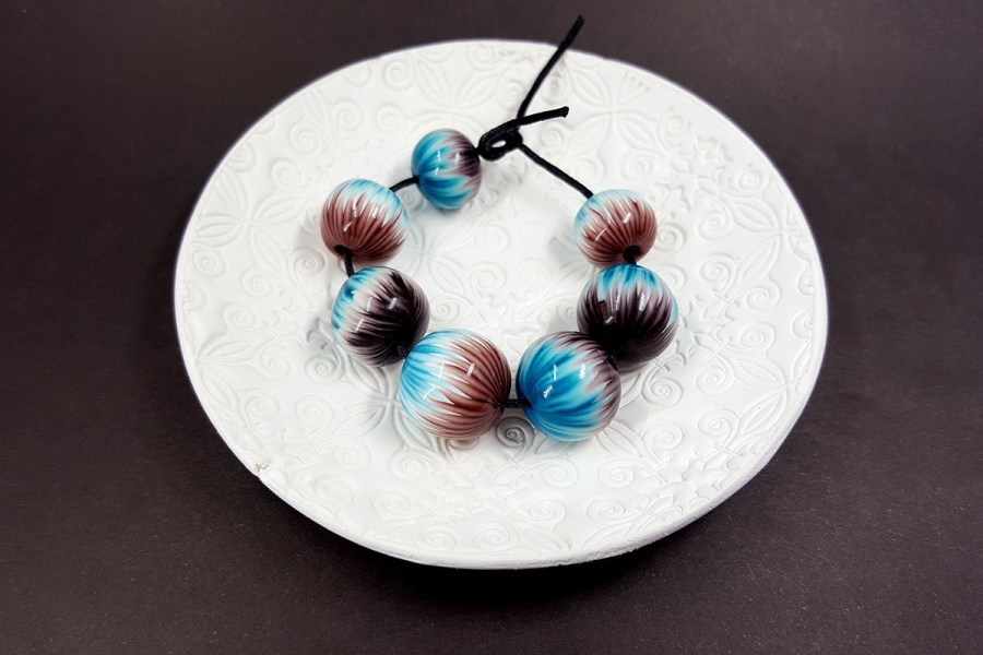 7 pcs Round Beads from Polymer Clay by Millefiori Technique p01