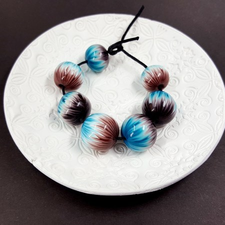 7 Round Beads by Millefiori Technique