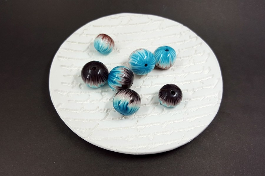 7 pcs Round Beads from Polymer Clay by Millefiori Technique p03