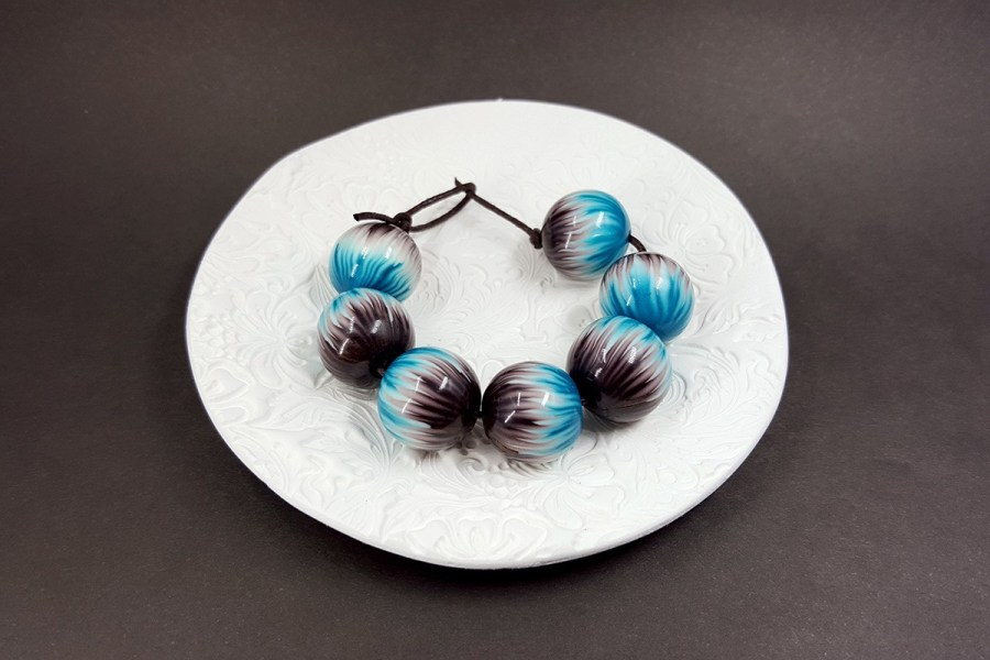 7 pcs Round Beads from Polymer Clay by Millefiori Technique set 2 p01