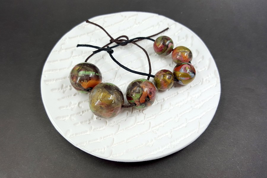 7 pcs Round Beads from Polymer Clay in Brown, Green, Silver Colors p01