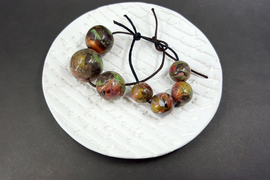 7 pcs Round Beads from Polymer Clay in Brown, Green, Silver Colors p02