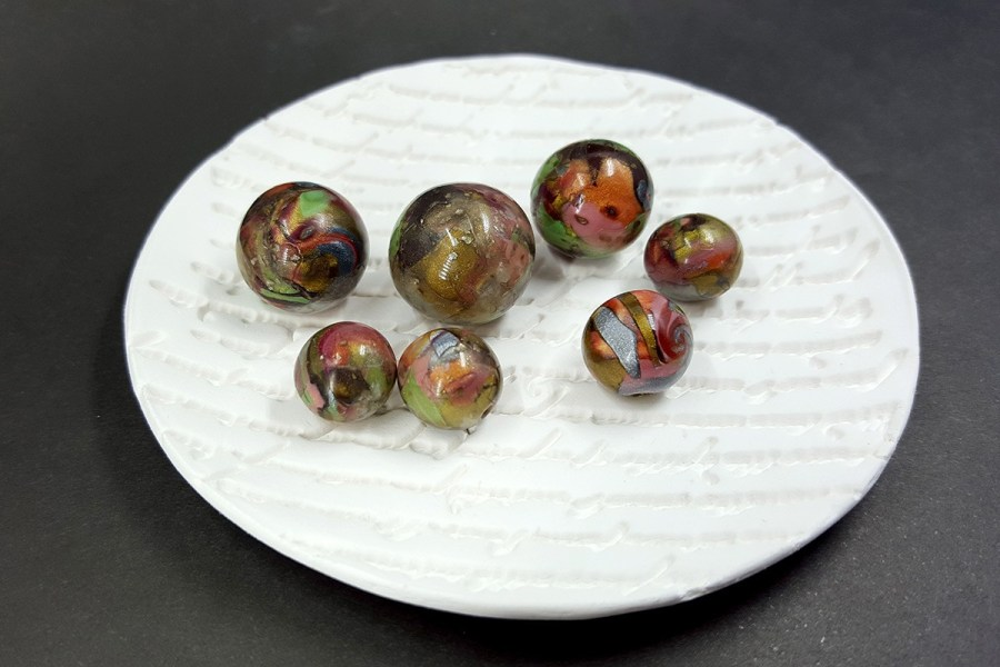 7 pcs Round Beads from Polymer Clay in Brown, Green, Silver Colors p03