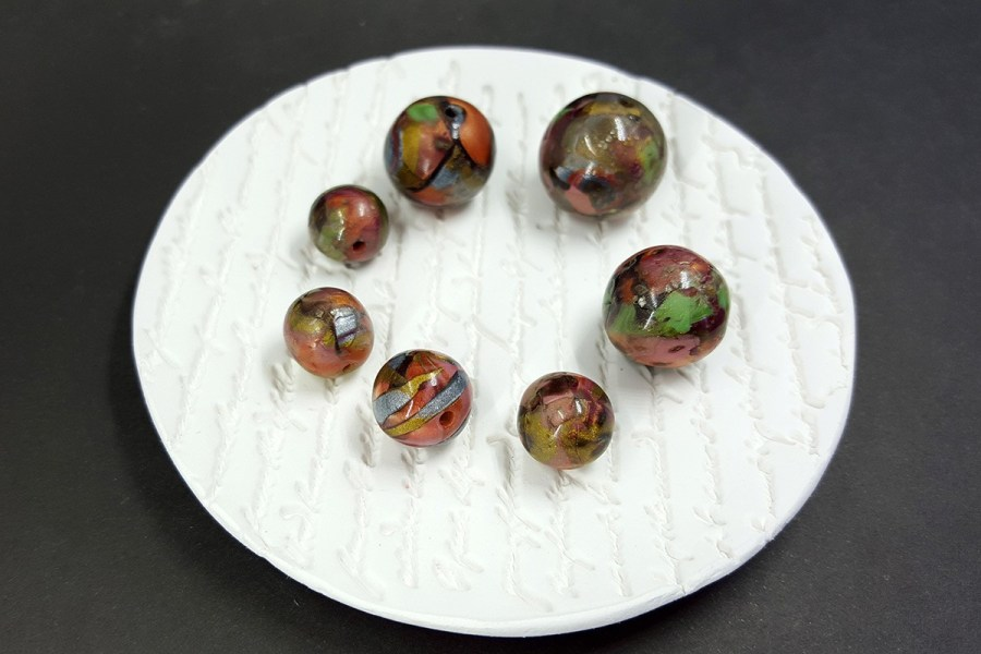 7 pcs Round Beads from Polymer Clay in Brown, Green, Silver Colors p05