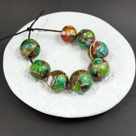 8 pcs Jade Sanded & Polished Beads from Polymer Clay