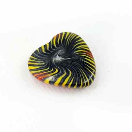 Cabochon Heart Bead, Millefiori Technique