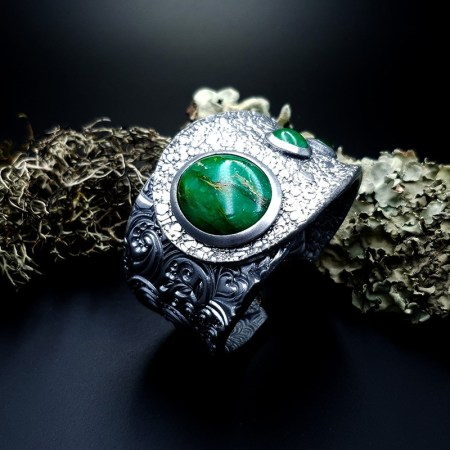 Bracelet Cuff Faux Silver And Jade #2