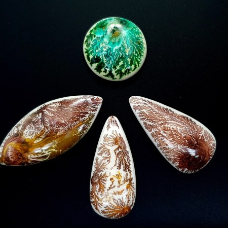 4 cabochons Faux Dendritic Agate from Polymer Clay (#1)
