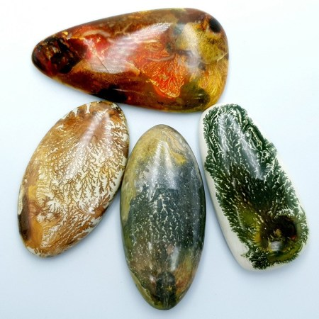 4 cabochons Faux Dendritic Agate from Polymer Clay (#2)