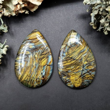 2 cabochons faux labradorite stone from polymer clay #1