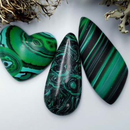 3 pcs Beads Faux Malachite from Polymer Clay (Set #2)