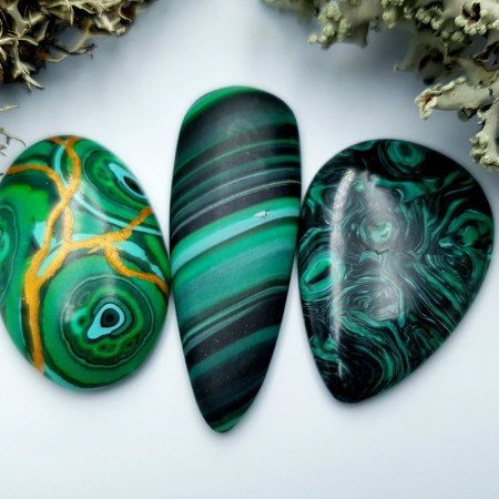 3 pcs Beads Faux Malachite from Polymer Clay (Set #4)
